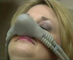 A woman using nitrous oxide a form of dental sedation